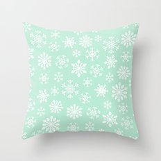 minty snow flakes Throw Pillow