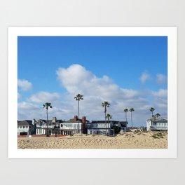 Beach Houses on the Balboa Peninsula Art Print
