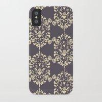 damask iPhone & iPod Cases featuring Damask aubergine by Carolina Abarca