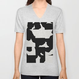 Deconstructed Cowskin Woven Abstract Unisex V-Neck