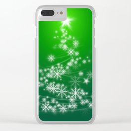 Whimsical Glowing Christmas Tree with Snowflakes in Green Bokeh Clear iPhone Case