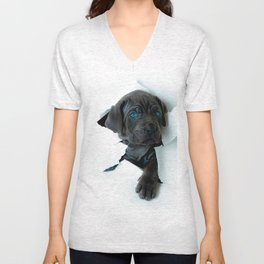 Neapolitan Mastiff black dog  Tearing Through Unisex V-Neck