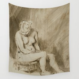 Nude Woman Seated on a Stool Wall Tapestry