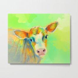 Summer Cow - colorful digital illustration Metal Print