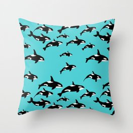 Orca Whale Pattern on Blue Throw Pillow