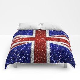 Glitters Shiny Sparkle Union Jack Flag Comforters