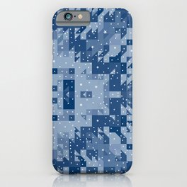 HERITAGE holiday blue quilt white snowflakes iPhone Case
