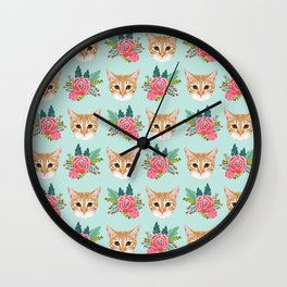 Tabby cat florals flowers must have cat themed gifts pet portrait cat lady mint pastel cat art fur Wall Clock