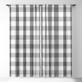 Large Black White Gingham Checked Square Pattern Sheer Curtain
