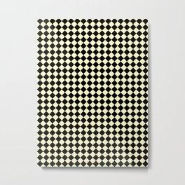 Black and Cream Yellow Diamonds Metal Print