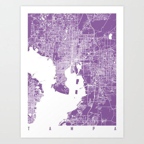 Tampa map florida lilac Art Print