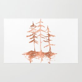 Three Sisters Trees Rose Gold on White Rug