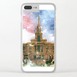 Payson LDS Temple Watercolor Photo Clear iPhone Case