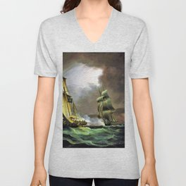 A Smuggling Lugger Chased By A Naval Brig - Thomas Buttersworth Unisex V-Neck