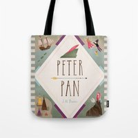 peter pan Tote Bags featuring Peter Pan by emilydove