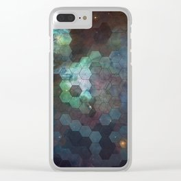 Nebula Hexagons Clear iPhone Case