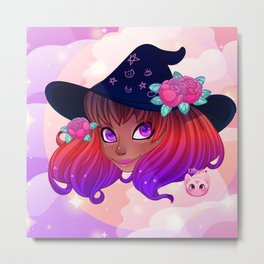 Sunset Witch Metal Print