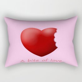 a bite of love (nibbled heart) pink Rectangular Pillow
