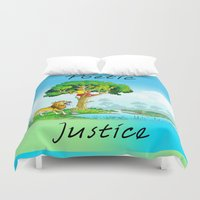 justice Duvet Covers featuring Poetic Justice by Anthony Mwangi