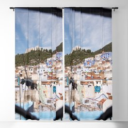 Rooftops of Chefchaouen - The Blue City, Morocco Blackout Curtain
