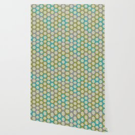Hexagonal Dreams - Green, Grey, Turquoise Wallpaper