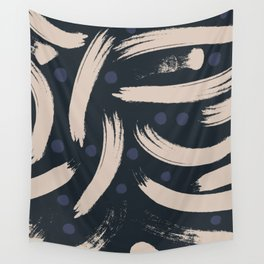 Paint Strokes Pattern - Navy, Blueberry, and Light Sand Colours Wall Tapestry