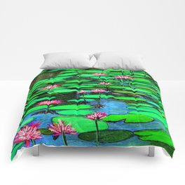 Homage to Ponds, Lilies and Lily Pads Comforters
