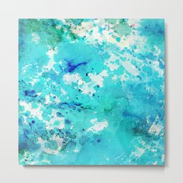 Abstract modern teal blue watercolor paint pattern Metal Print