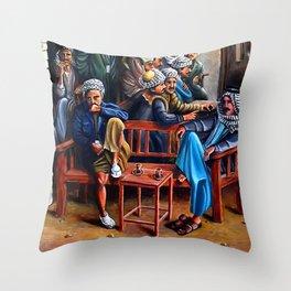 Old Arabic Coffee Shop Throw Pillow