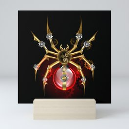 Steampunk Spider with Red Light Bulb Mini Art Print