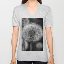 Monochromatic dandelion on black Unisex V-Neck