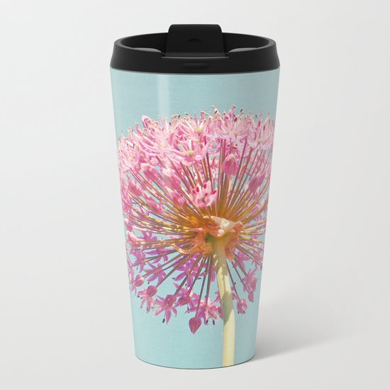 Pink Allium Metal Travel Mug