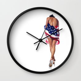 Naked Patriotic Woman Wrapped in American Flag Wall Clock