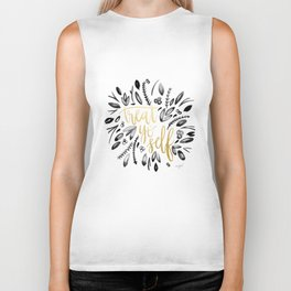 Treat Yo Self Gold Biker Tank