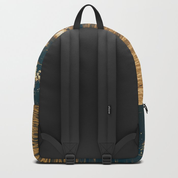 Sparkling Ocean in Gold and Navy Blue Backpack