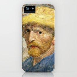 Vincent Van Gogh - Self portrait with straw hat iPhone Case