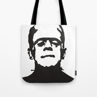 frankenstein Tote Bags featuring Frankenstein by b & c