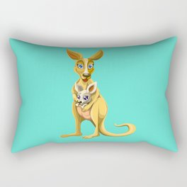 Cute kangaroo and baby cartoon Rectangular Pillow