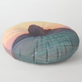 Mokoli'i Island at Twilight pacific landscape painting by D. Howard Hitchcock Floor Pillow