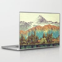 mountains Laptop & iPad Skins featuring The Unknown Hills in Kamakura by Kijiermono