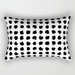 Black and White Minimal Minimalistic Polka Dots Brush Strokes Painting Rectangular Pillow