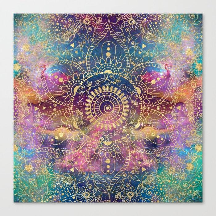 Gold watercolor and nebula mandala Leinwanddruck