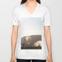 prague V-neck T-shirts featuring Prague bridge by RMK Photography