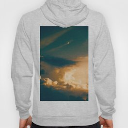 Heavenly Pastel Beige Clouds Turquoise Space Crescent Moon Fantasy Photo Hoody