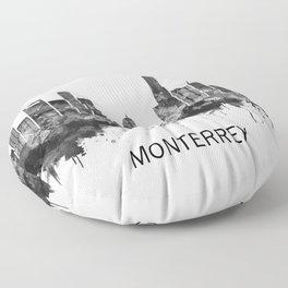 Monterrey Mexico Skyline BW Floor Pillow
