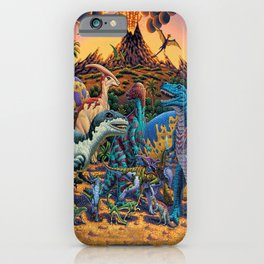 Dinosaurs flee the volcano iPhone Case