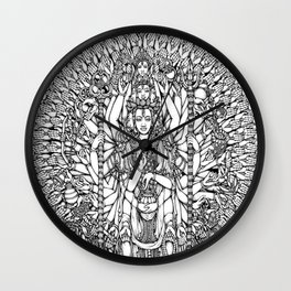 Bodhisattva Avalokiteshvara of Compassion Arms and the Imperial Guardian Lion by Kent Chua Wall Clock