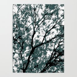 tree branch with green leaves abstract background Poster
