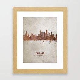 Chicago Illinois Rust Skyline Framed Art Print