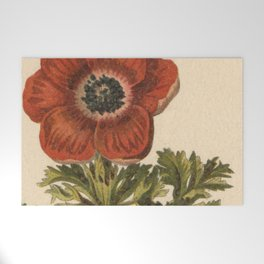 1800s Encyclopedia Lithograph of Anemone Flower Welcome Mat